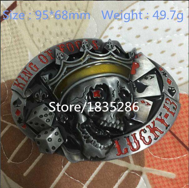 Розничная Новое Поступление Горячей Продажи Super Cool 3D LUCKY 13 Череп металлические пряжки ремня для 4 см пояса Модные Мужские Джинсы аксессуары подарок