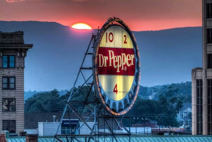 The iconic Dr. Pepper sign in downtown Roanoke, Virginia. Photo by Terry Aldhizer.