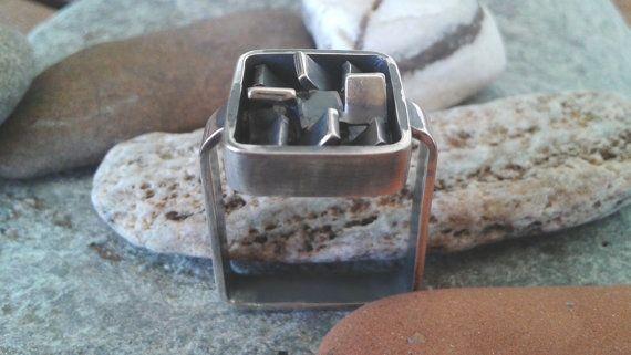 Square oxidized silver ring handmade art ring unique by Jewelartla