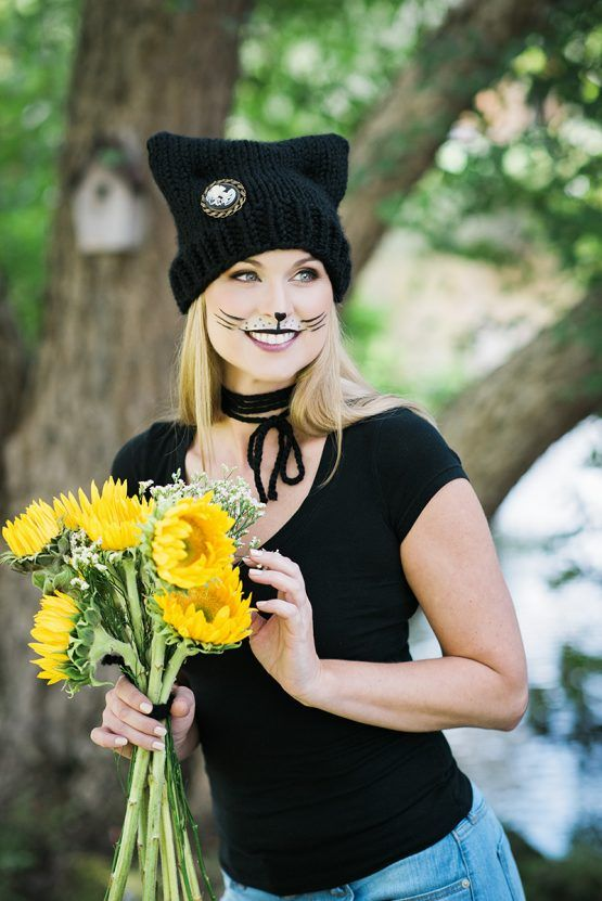 Cat makeup tutorial for Halloween. Paired with an adorable hat knitting pattern, it's the perfect hand crafted costume. Age Appropriate for little girls, teenagers and women. Click for the FREE PRINTABLE on how to complete this look. | Pattymac Knits