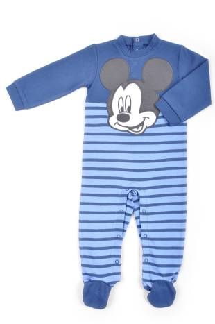 Pijama para bebe niño, con rayitas en azul claro y azul oscuro.