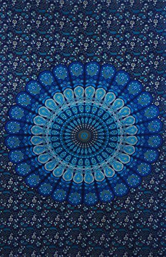 Blue Mandala Tapestry, Hippy Wall Hanging, Table Cover, Handmade Bed Sheets, Decorated Throw.