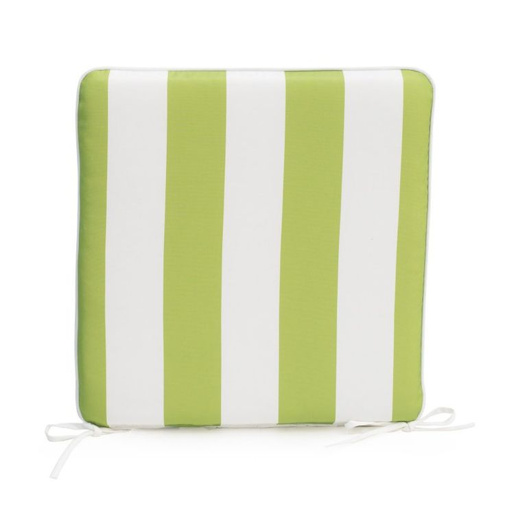 Coral Coast Lakeside 17 x 17 in. Outdoor Furniture Seat Pad Apple Green Thick Stripe - TRENDM020-1-APPLESTRIPE