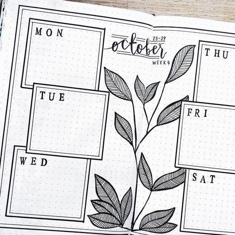 Bullet Journal Wochenplan, Pflanzenzeichnung, einfaches und sauberes Bullet Journal