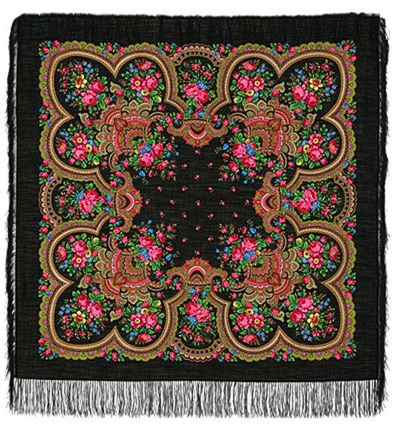 "49"" Russian Shawl Scarf Pavlovo Posad, 100% soft wool, Silk handmade fringe, up to 16 colors, Vintage design"