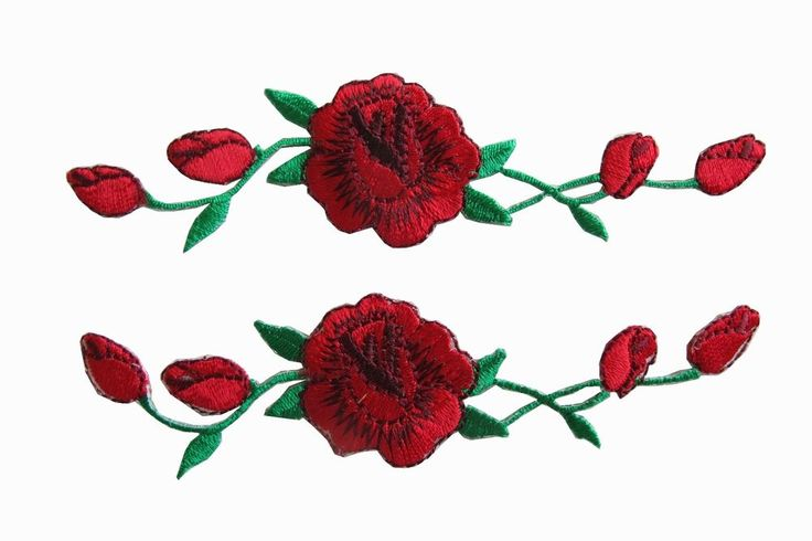 3965R Lot 2 Pcs Red Rose Flower Embroidery Applique Patch (will ship after 1/31) #Unbranded