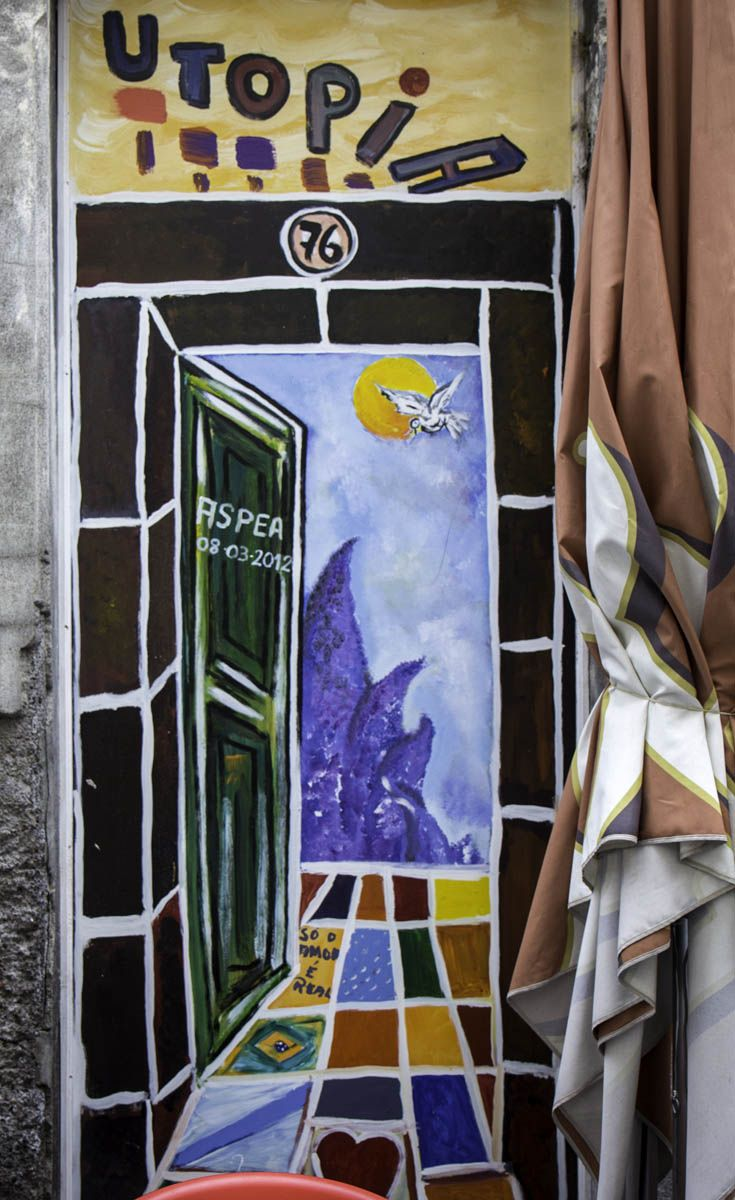 Painted door in Funchal on the Portuguese island of Madeira
