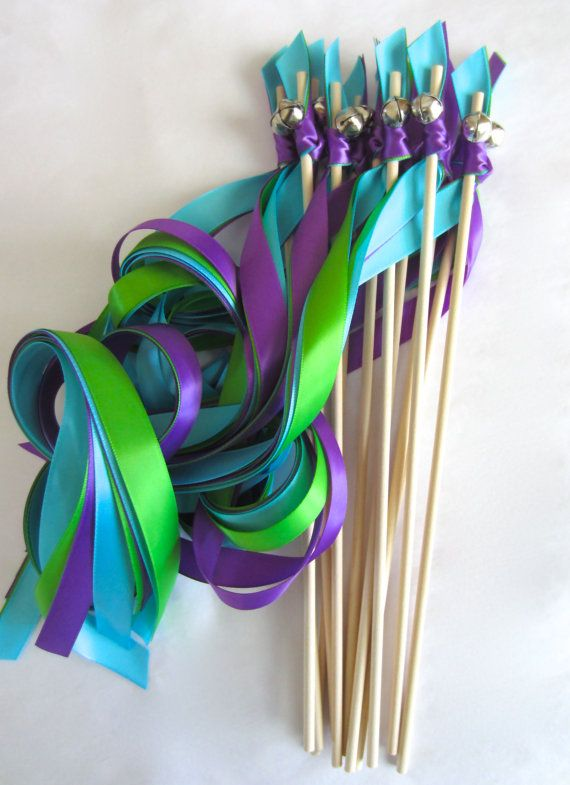 RIBBON WANDS 3 ribbons and bell Peacock Theme by MatsenDesigns Nice alternative to throwing rice.....