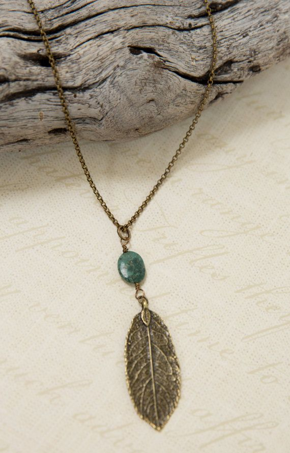 """Antique Brass 30"""" Necklace, Long Necklace, Leaf charm with turquoise, casual necklace, vintage like,, bohemian style"""