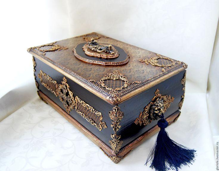 """Купить шкатулка """"Синий дворец"""" - тёмно-синий, барокко, шкатулка для украшений, шкатулка декупаж"""