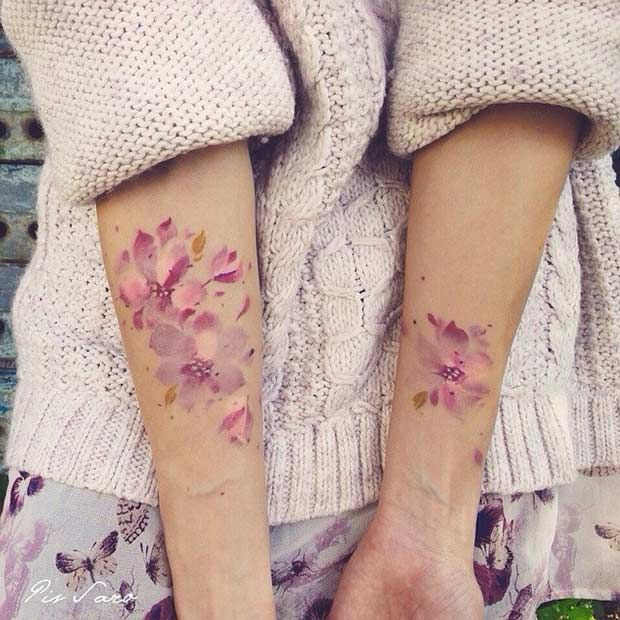 Pink Flowers - Watercolor Arm Tattoo Idea