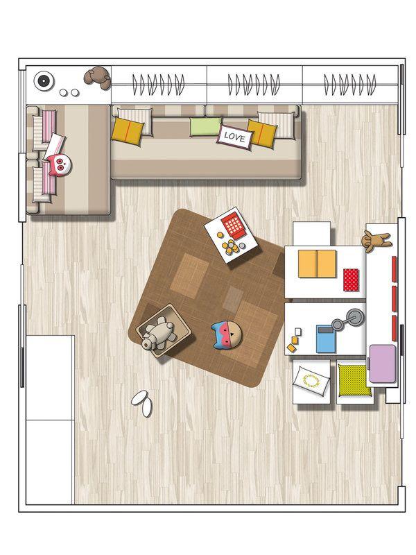 Детская игровая для трех мальчиков в спокойных тонах | Пуфик - блог о дизайне интерьера