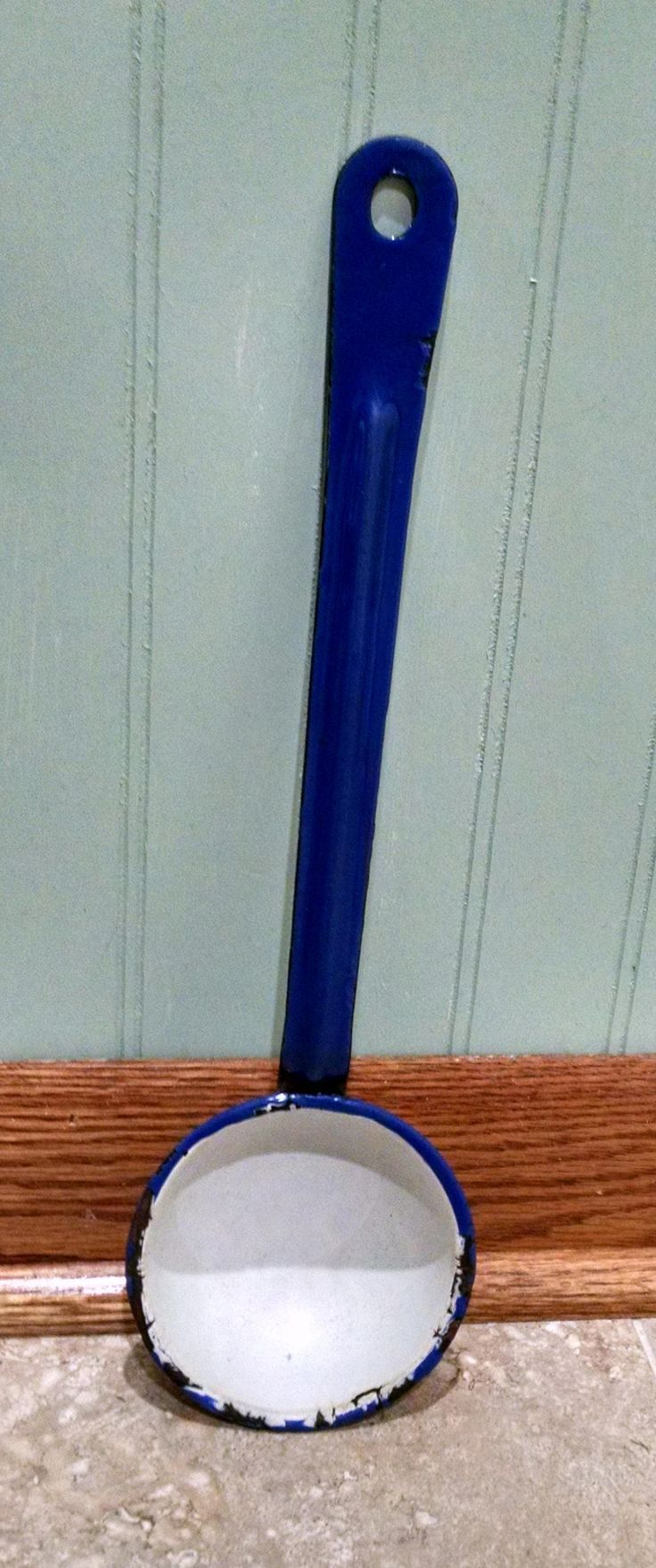Enamelware Ladle - Dipper -Scoop - White and Blue - Vintage Kitchenware - Country Cottage Farmhouse Decor by ClassyVintageGlass on Etsy