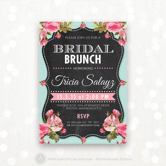 "Printable Bridal Shower Invitation Bridal Brunch by AmeliyCom, $20.00  Printable Bridal Shower Honoring Invitation, Bridal Shower Invite Editable DIY INSTANT DOWNLOAD Bridal Shower Party Flyer 5x7 - Just print cut and ready to go!   # 25 Editable Bridal Shower Invitation - Chalkboard Shower Vintage Teal & Pink Rose You can change the title to ""Bridal TEA PARTY"", ""Bridal BRUNCH"" and etc.  ・・・・・ Editable PDF ・・・・・"