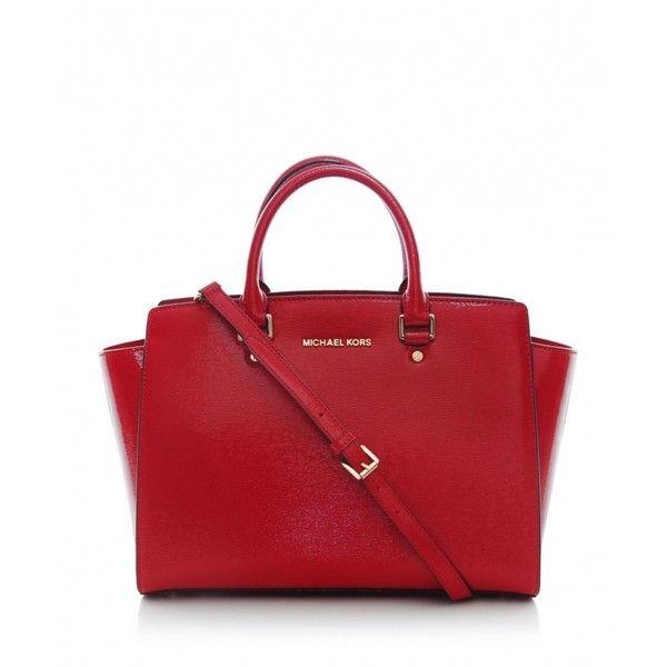 MICHAEL Michael Kors Selma Large Tote Bag (11.680 UYU) ❤ liked on Polyvore featuring bags, handbags, tote bags, purses, red, michael kors, michael kors tote, red hand bags, zip top tote bags and handbags totes