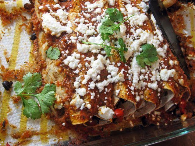 Portobello and Black Bean Enchiladas with Roasted Poblano Sauce
