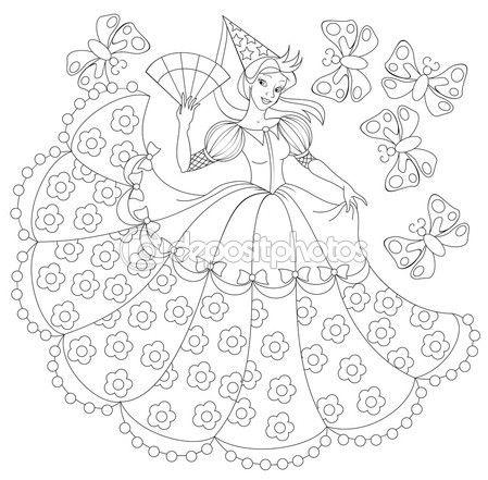 Черно-белые иллюстрации принцессы для раскраски — стоковая иллюстрация #109938076