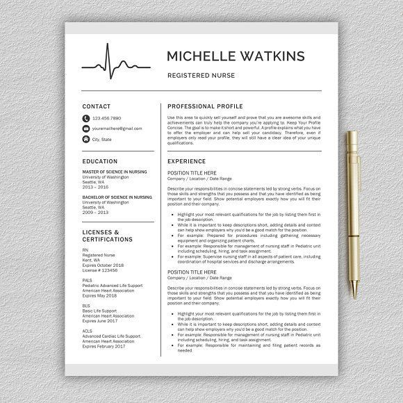Nurse Resume / Medical CV by Pro.Graphic.Design on @creativemarket