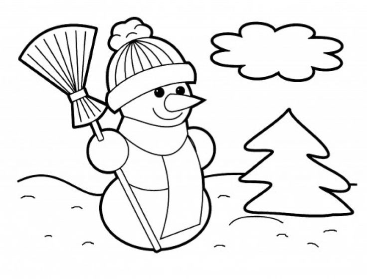 simple coloring pages of snowman for young kids - Kids Fun Coloring Pages