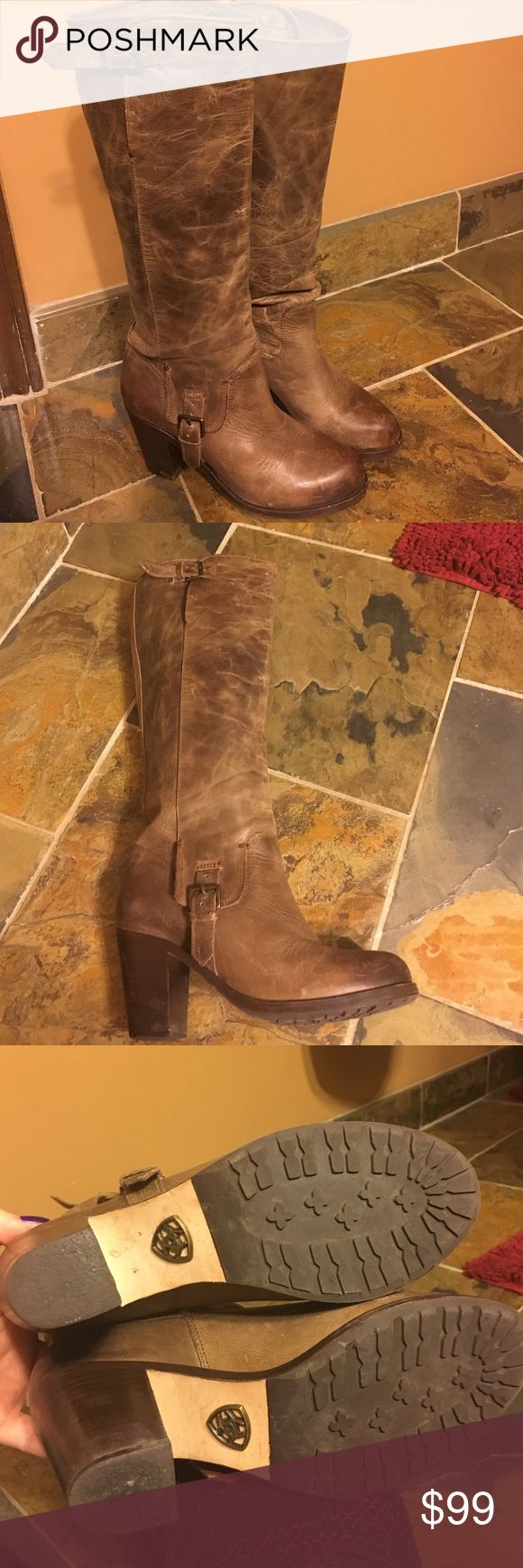 Ariat Gold Coast tall  Boots Beautiful like new light brown tall leather Ariat Gold Coast boot. Buckle detailing on the outside part of boot. Ariat Shoes Heeled Boots