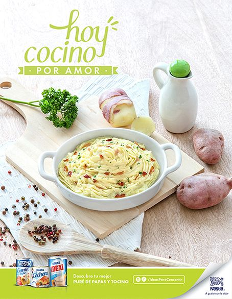 Mashed potatoes and bacon. Campaign:  l cook for love Advertising Agency:  McCann Photographer: Esteban Brocos. Production: BrocosFoto.