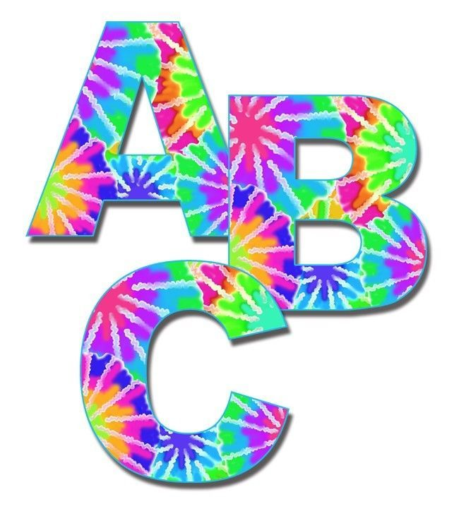 Tie Dye Rainbow Alphabet Letters Wall Art Decal