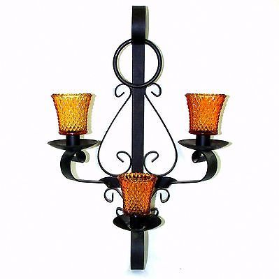 Vintage Wrought Iron Wall Sconce Mid Evil Home Lighting Glass Candle Holders Wireless Wall