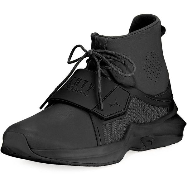 Fenty Puma By Rihanna The Trainer Hi Sneaker ($190) ❤ liked on Polyvore featuring shoes, sneakers, black, round toe lace up flats, black shoes, puma sneakers, black round toe flats and black flat shoes