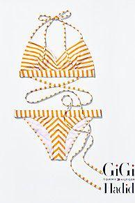 Shop de gestreepte bikini gigi hadid en verken de Tommy Hilfiger bikini's  collectie voor dames. Gratis retourneren