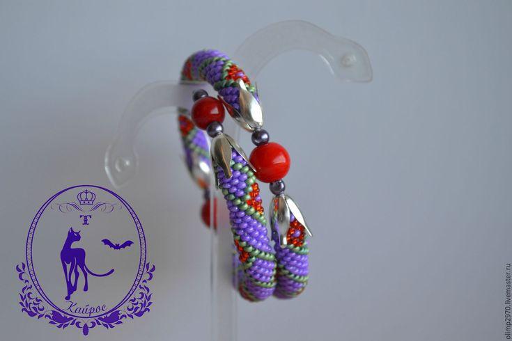 Купить Браслет - фиолетовый, браслет, браслеты, браслет на руку, браслет из бисера, Браслет ручной работы