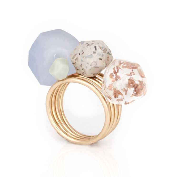 Studio Elke – Set of 4 'Remnants' rings in Laced Agate, Lime Stone, Bercated Jasper and Storm resin stones with rose-gold bands. studio-elke.com