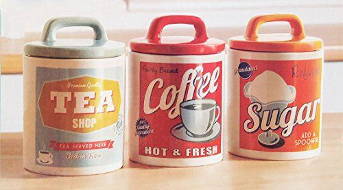 £15. Retro Set 0f 3 Classic 50's/60's Style Tea, Coffee & Sugar Canisters /Jars Vintage Home http://www.amazon.co.uk/dp/B00FVZ13XW/ref=cm_sw_r_pi_dp_Gkcaxb1G1MX1C