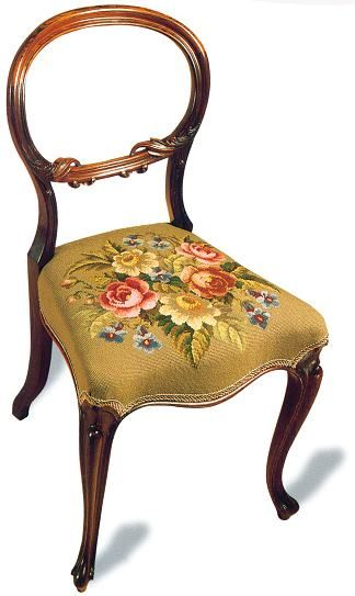 Victorian balloon backed dining chair with handmade floral tapestry. Balloon back chairs were produced in large numbers in the 19th century, individual designers developing their own unique styles which were copied for mass production. This means that Victorian balloon backed dining chairs are widely available in many different styles, to suit every décor.