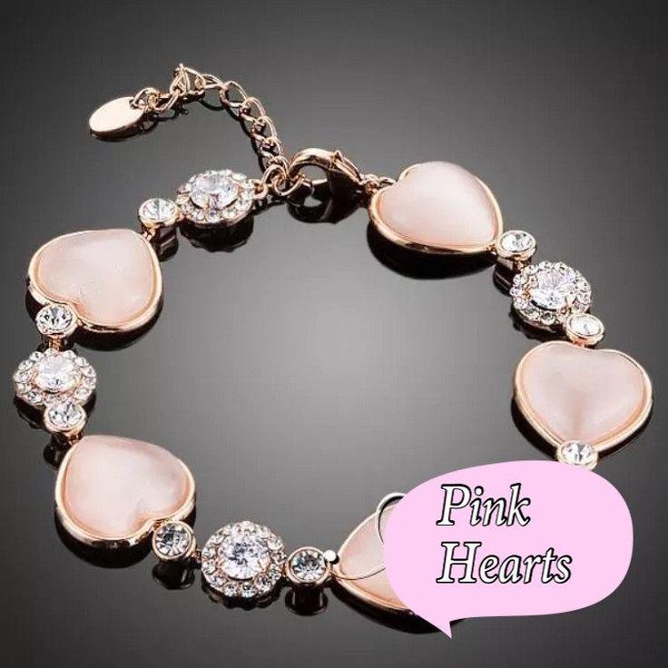 Pink hearts bracelet kod 586318