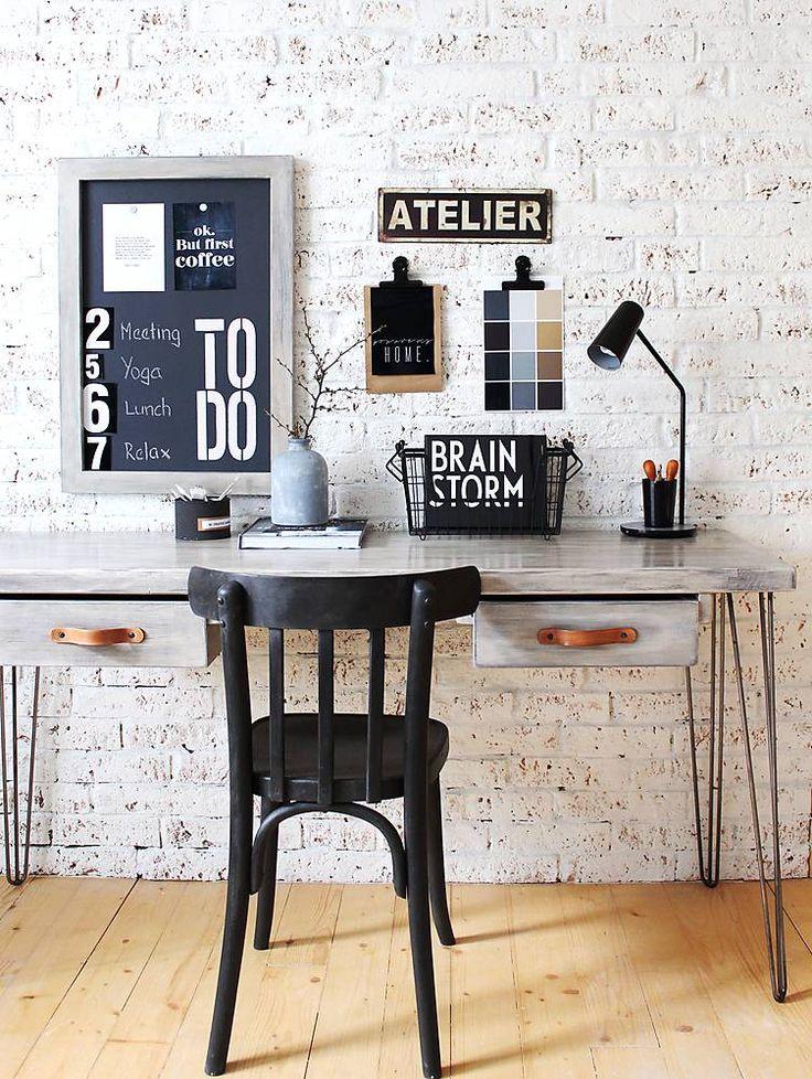 Nábytok - Pracovný stôl INDUSTRY BROWN so šuflíkmi - 6539865_
