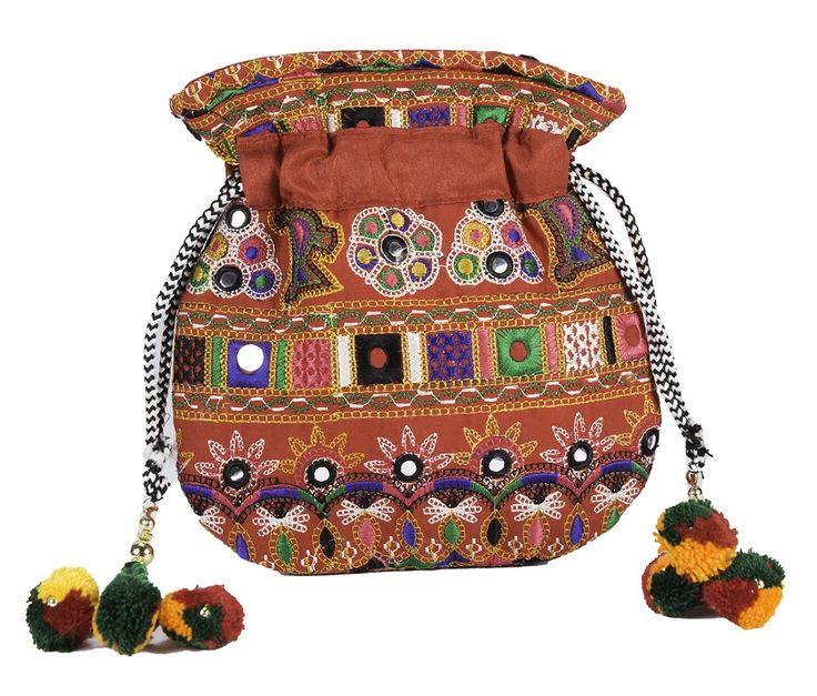 Embroidered Potli Style Bag www.styleincraft.com #EmbroideryBag #PotliStyleBag #HandmadeBag