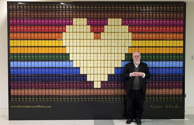 Legendary artist Sir Peter Blake with his collage using Green and Black's chocolate bars Picture: PA