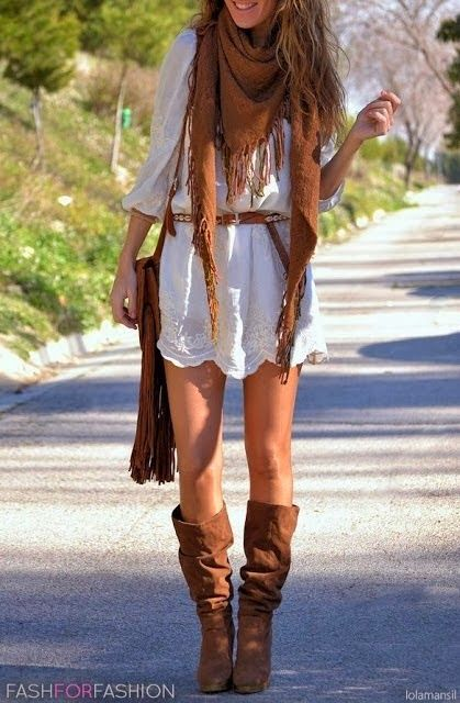 Lace Belted Dress With Long Boots and Scarf