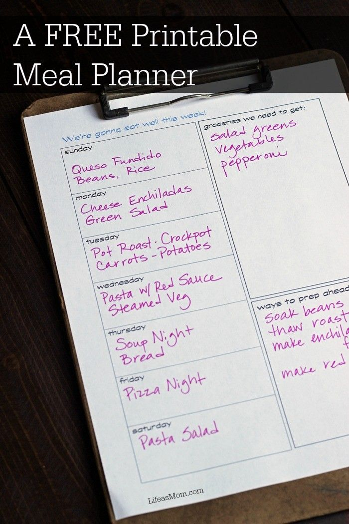 FREE Printable Meal Planner to Get You Organized | Life as Mom Get organized this week for great meals with a FREE printable meal planner to track meal plans, grocery list, and prep ahead items. http://lifeasmom.com/free-printable-meal-planner/