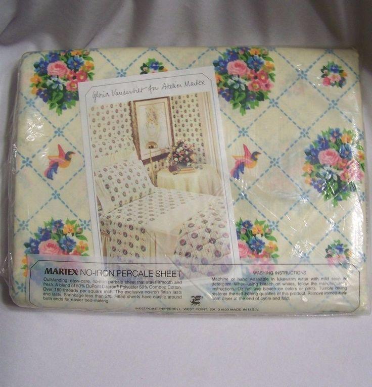 Vintage Full Flat Sheet Atelier Martex Victorian Bouquets Gloria Vanderbilt NIP #WestpointPepperell