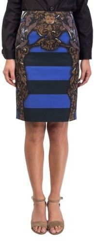 Prada Women's Cotton Striped Statue Print Skirt Blue