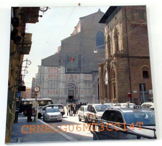 """Claudio Buso """"Cronogramma n.14, De Curru Bononiense"""", 2006, olio su cotone fine trattato, 80x80"""