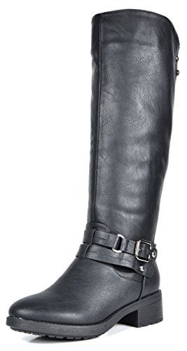 ba9293ad8f7b DREAM PAIRS Women s Uncle Black Knee High Motorcycle Riding Winter Boots  Size 5.5 M US in 2019
