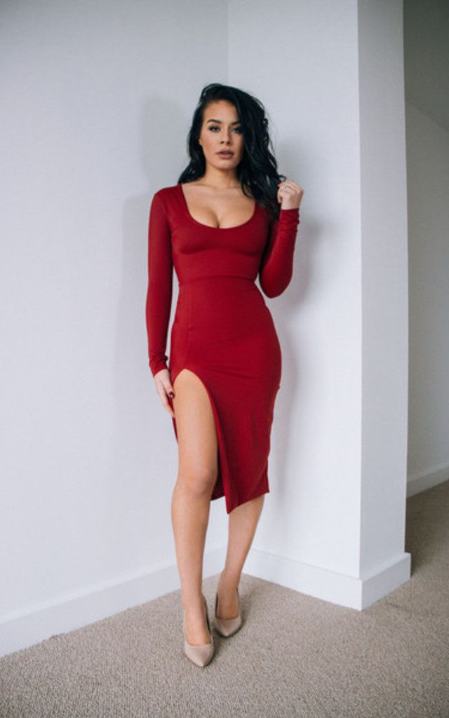 Holly Claret Red Long Sleeve Slit Leg Midi Dress - SilkFred
