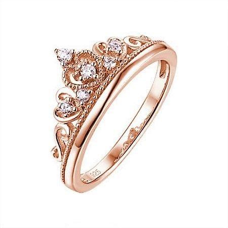 Rosé vergulde Zilveren Ring Kroon met Zirkonia