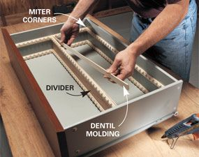 Cut standard dentil molding the width and length of your drawer, aligning the dentil slots on opposite sides. Glue or brad-nail the strips into place—one strip for dividers up to 2 in., two strips for larger dividers. For dividers, use oak or pine mull strip (sometimes called lattice) or rip 1/4-in. plywood.