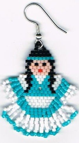 Hand Beaded Turquoise Indian Maiden girl earrings by beadfairy1