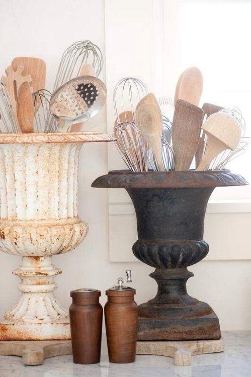 Pretty way to organize kitchen utensils