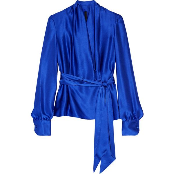 Gareth PughSilk-satin Blouse (751 AUD) ❤ liked on Polyvore featuring tops, blouses, royal blue, gareth pugh, blue satin blouse, royal blue satin blouse, sash belt and royal blue top