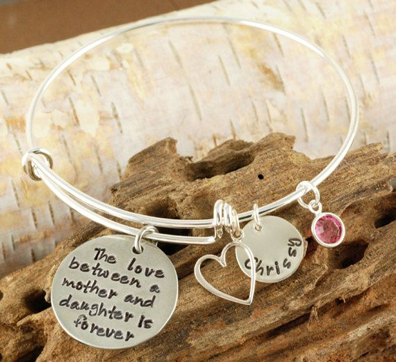 Can do daughter bracelet with 3 girls Son bracelet with 2 boys  Personalized Bangle Bracelet, Mother/Daughter Bracelet - Silver Bangle Charm Bracelet - Alex and Ani Style - Name Bracelet